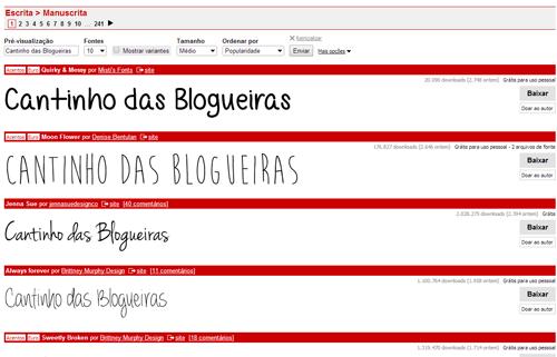 fontes gratuitas para o seu blog