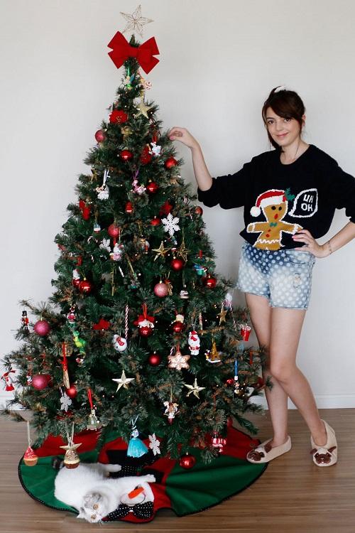 decoracao arvore de natal vermelha e dourada:Árvore De Natal Das Blogueiras